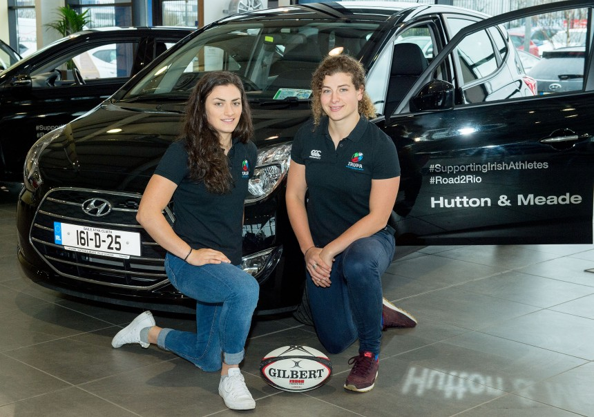 Lucy Mulhall and Jenny Murphy Irish Rugby Women's 7s Players and members of IRUPA picking up their Hyundai cars from Hutton and Meade Main Hyundai dealers in Dublin March 2016 NO Reproduction Fee ©  Michael Chester   087 8072295 michael@chester.ie