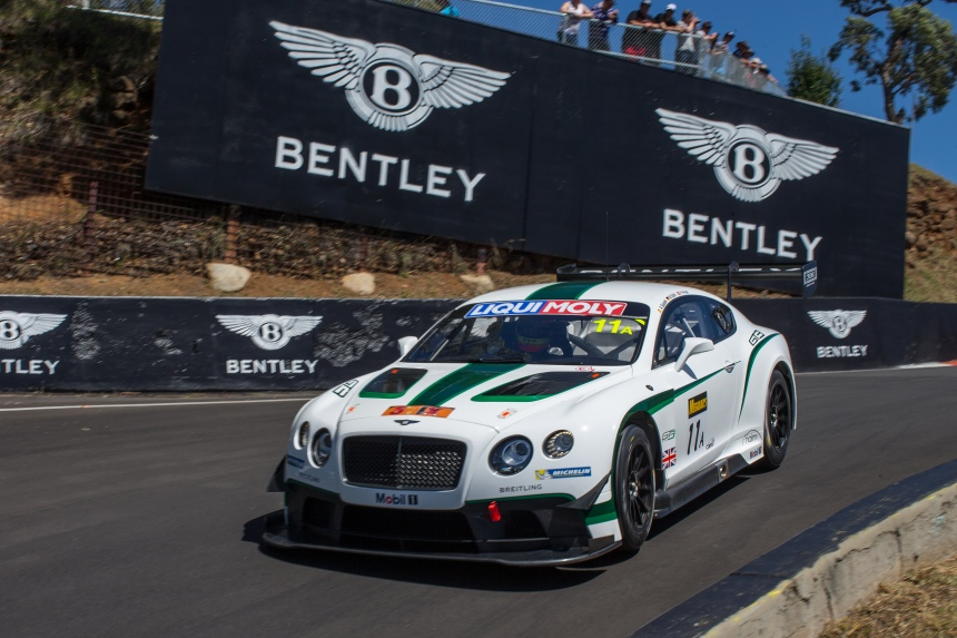 The Kane Bentley passes some apt signage en route to an impressive fourth place finish.