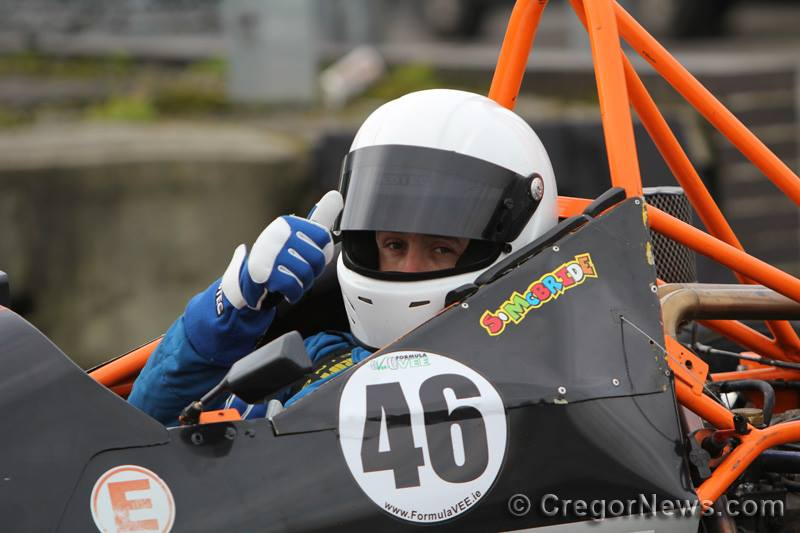 Thumbs up for a successful debut season in Formula Vee. Image from Cregor Elliott