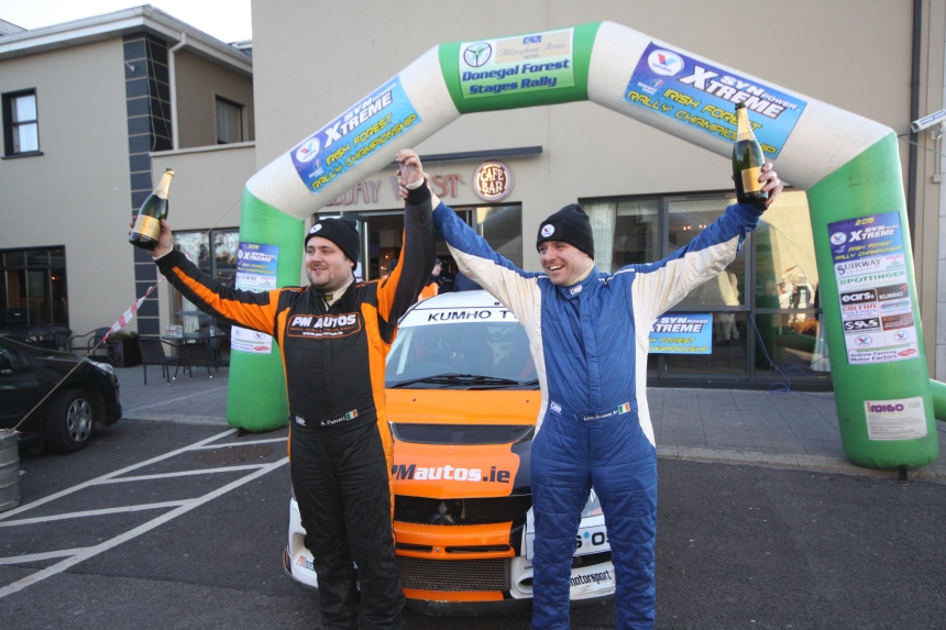 Andrew Purcell (l) & Liam Brennan celebrate victory on round two of the Valvoline Irish Forest Rally Championship