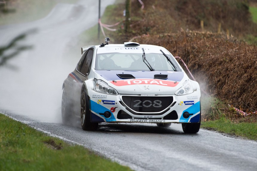 Craig Breen in his Peugeot R5 Testing for the 2015 Circuit of Ireland © Michael Chester 087 8072295 No Reproduction fee (2)