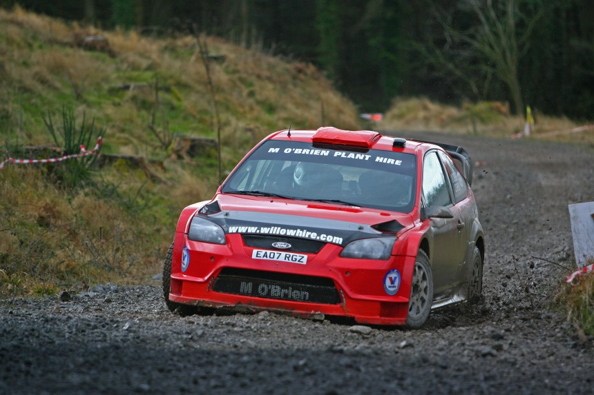 Mick O'Brien and James O'Brien leaders of the Valvoline Irish Forest Championship
