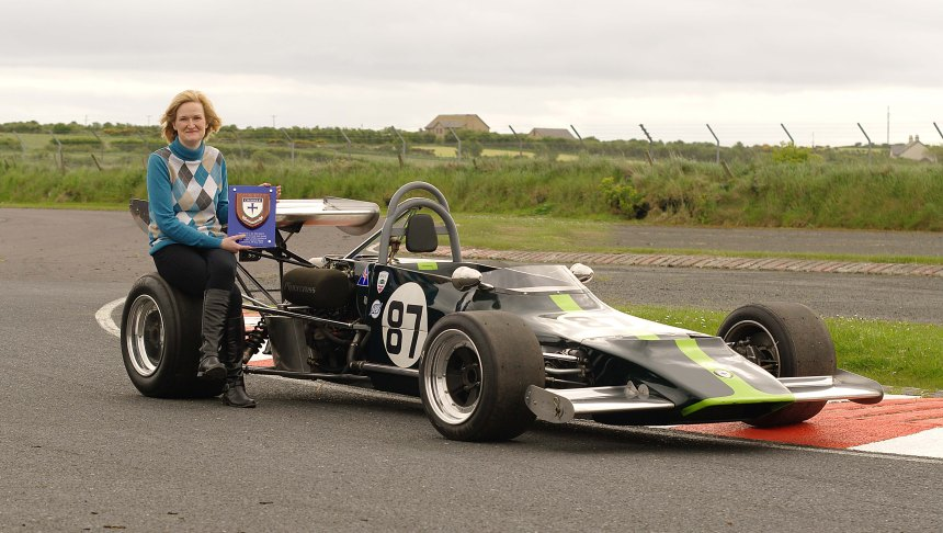 Caroline Crossle at the to be named Crossle Chicane at  Kirkistown Circuit