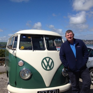 "John Creedon and the AXA VW bus during folming for the RTE ""Wild Atlantic Way"" programme."