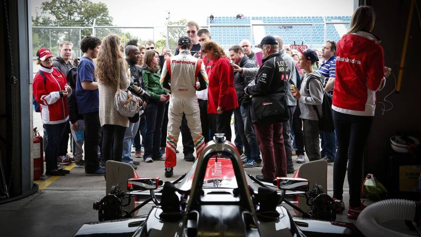 Bruno Senna was popular during the Pit Walk.