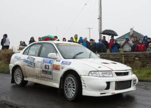 The Mayo crew of James McGreal/Chris Mitchell (Mitsubishi) on the opening stage near Killala. Photo: Martin Walsh.