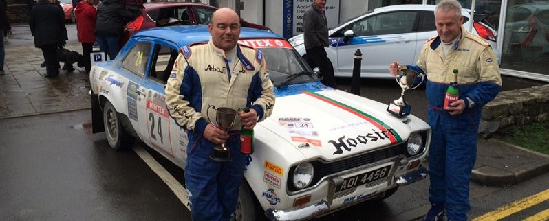 Stanley Orr (l) & Guy Weaver celebrate Category 2 victory on Rally North Wales