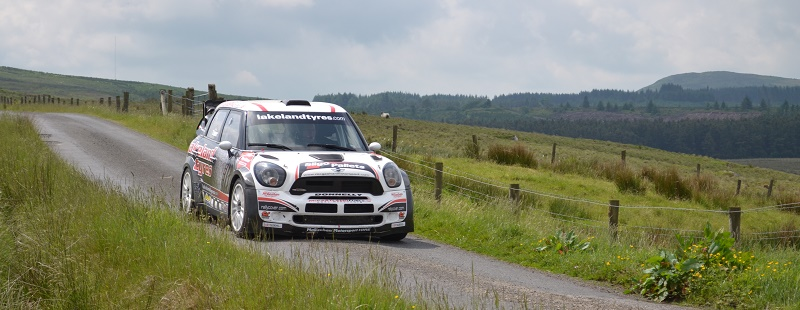 Eugene Donnelly testing the Lakeland Tyres Mini WRC before the Donegal International