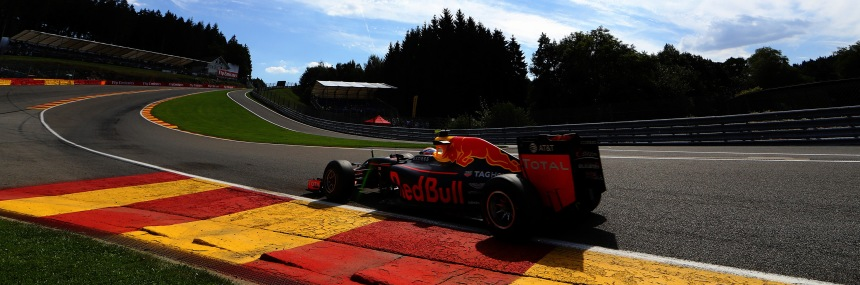 SPA, BELGIUM - AUGUST 26: Max Verstappen of the Netherlands driving the (33) Red Bull Racing Red Bull-TAG Heuer RB12 TAG Heuer on track during practice for the Formula One Grand Prix of Belgium at Circuit de Spa-Francorchamps on August 26, 2016 in Spa, Belgium.  (Photo by Mark Thompson/Getty Images) // Getty Images / Red Bull Content Pool  // P-20160826-00969 // Usage for editorial use only // Please go to www.redbullcontentpool.com for further information. //