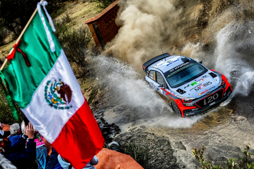 Thierry Neuville performs during the FIA World Rally Championship Mexico 2016 in Leon, Mexico on March 3, 2016